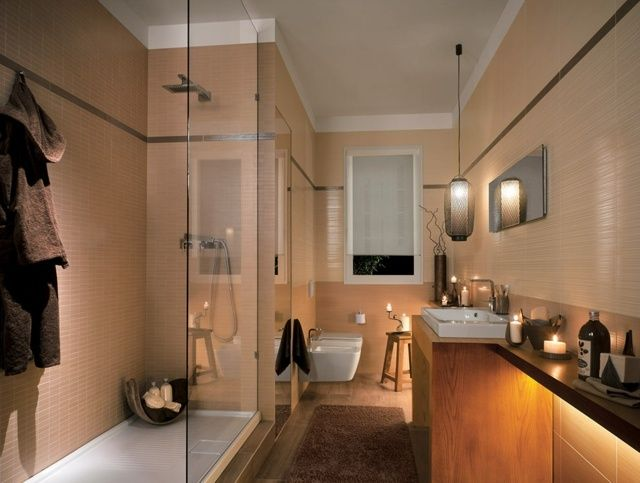 18 Lavish Bathroom Designs With Cool Tiled Walls : Romantic Nuance Modern  Bathroom Design With WalkIn Shower And Wooden Bathroom Vanity And Brown ...