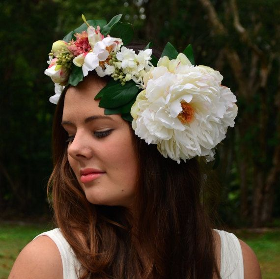 Sweet Peony Floral Crown by ChloeandCleo on Etsy