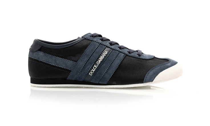 Lace-up fabric sneakers in with effect side stripes by @Dolce & Gabbana