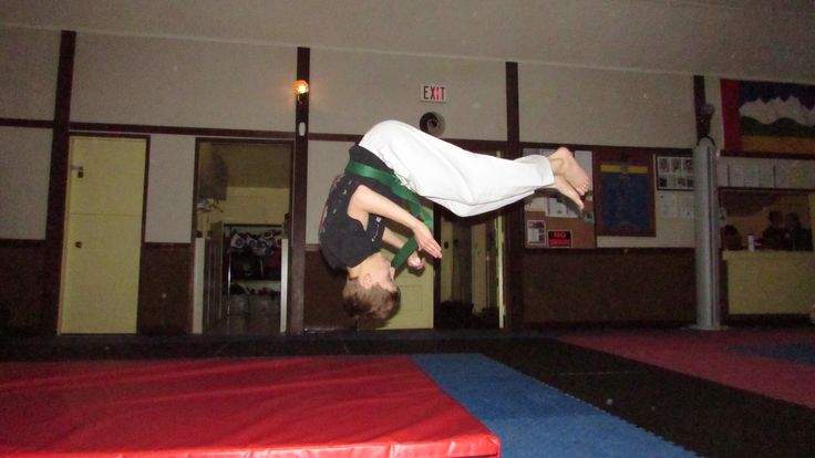 Practicing flips and falls! Karate is fun!