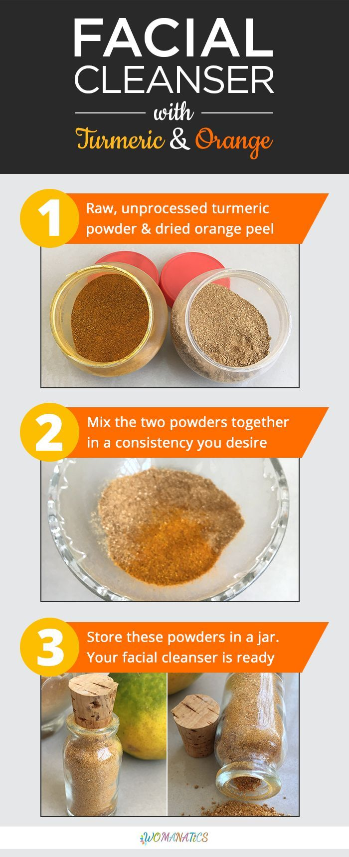 DIY Turmeric Orange Facial Cleanser is a natural face cleansing powder that is made from orange peel and raw turmeric powder. It is a herbal, fresh, pure and natural facial cleanser powder that deeply cleanses the skin without stripping it off its natural oils.  #Turmeric #Facial #Natural