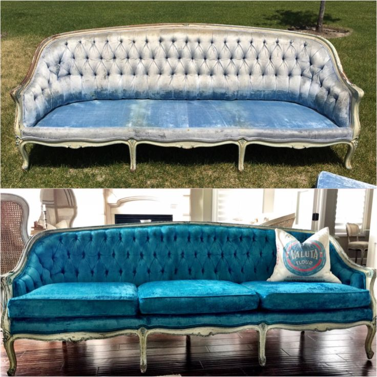 Before/after of a vintage sofa I dyed using Rit dye.