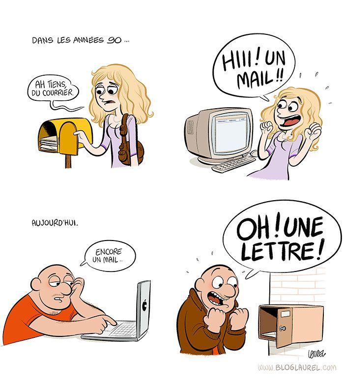 Avant/après le courrier vs mail - blog Laurel