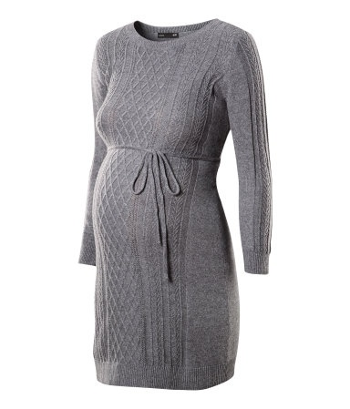 Long jumper (dress) with pattern knit front and full sleeves. Tie around waist. Grey | H GB