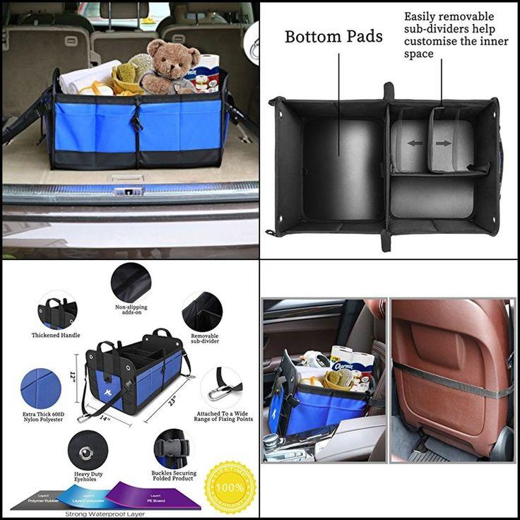 Car Trunk Organizer Collapsible Storage Heavy Duty Waterproof Bin Carrier Blue #HUANZHAN