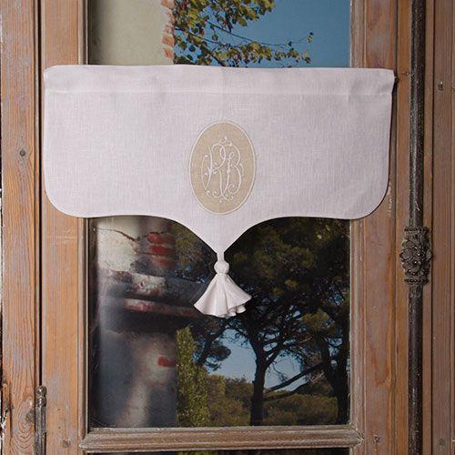 Cantonnières : Cantonnière lin blanc Marguerite
