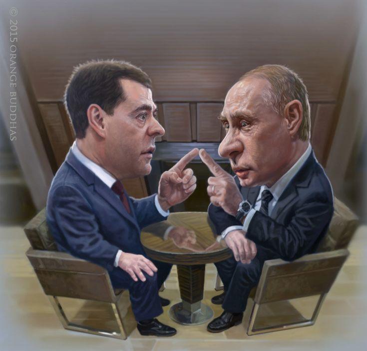 ArtStation - Vladimir Putin and Dmitry Medvedev caricature., Orange Buddhas