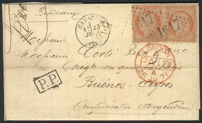 "France, 22/JUN/1871 DARGNIES - ARGENTINA: letter franked by Yv.23 x2, numeral ""1617"" cancel, sent to Buenos Aires via England, excellent quality! Starting Price (11/2016): 45 EUR."