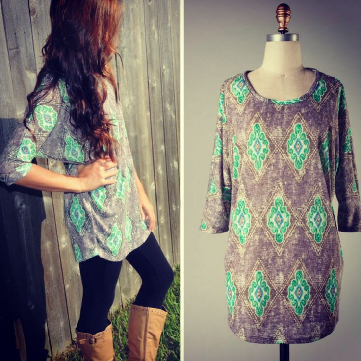 patterned tunic, leggings and boots.
