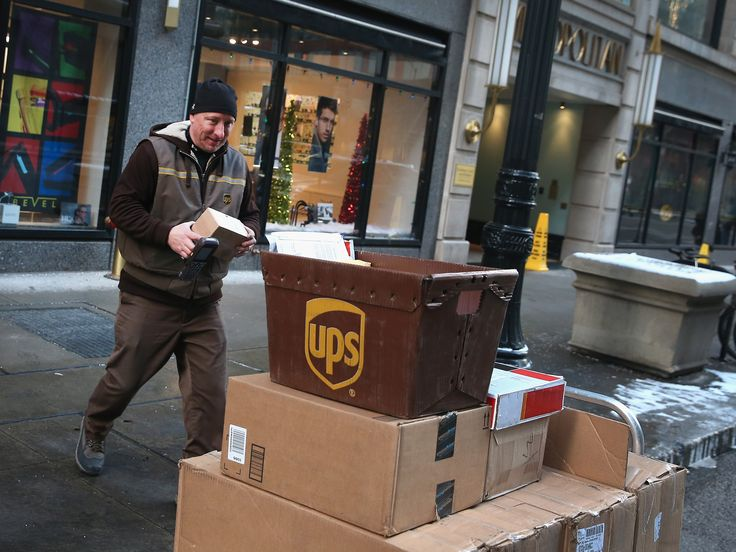 UPS parcels being collected