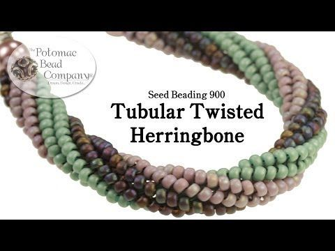 Twisted Tubular Herringbone Stitch - YouTube free tutorial from The Potomac Bead Company.  Thousands of free tutorials available on www.youtube.com/PotomacBeadCo.  Supplies from www.TheBeadCo.com www.potomacbeads.com