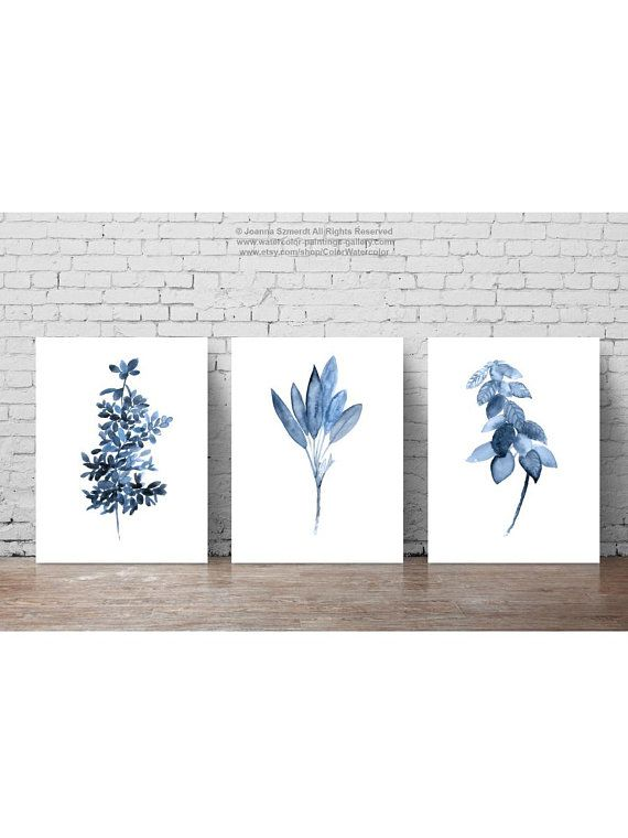 Herbs Watercolor Painting Blue Botanical Illustration Set 3 Plants