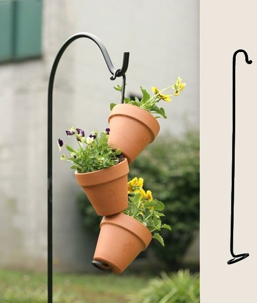"Iron Flower Pot Arm for Stacking Flower Pots in Garden, 16"", Garden Display Aid. Our flower pot arms are available in 16"" and 24"" sizes. $12.99 Our first lot of the 16"" size sold out completely. New lot is available at: http://cgi.ebay.com/ws/eBayISAPI.dll?ViewItem&item=121295095262&ssPageName=STRK:MESE:IT  Only 6 left in stock!! Email us if you wish to buy mulltiples: customerservice@simplyabundant.com"