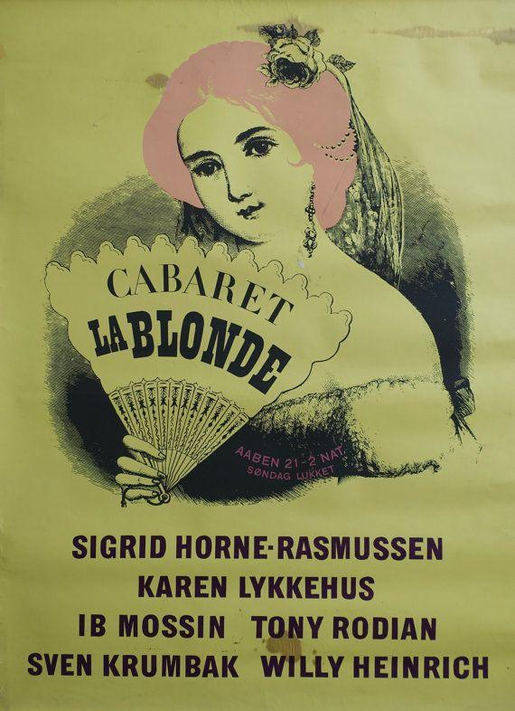 "1940s Cabaret ""La Blonde"" in Tivoli (Yellow Version) - Original Vintage Poster"