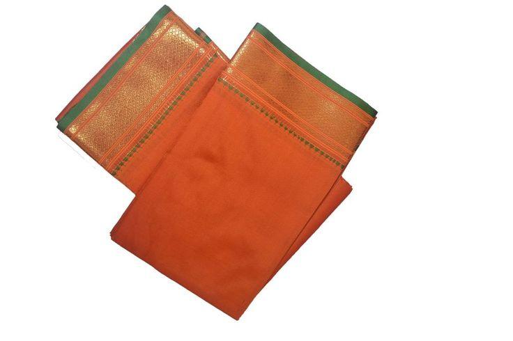 Orange Dhoti With Shawl In Pure Silk Golden Border