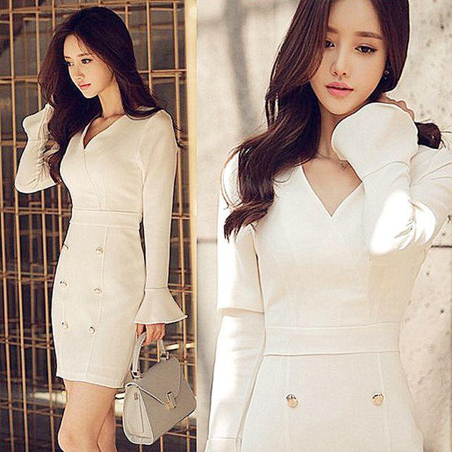 Mulheres senhora do escritório ol trabalho elegante dress v-neck double breasted branco vintage dress plus size evening partido magro bodycon vestido
