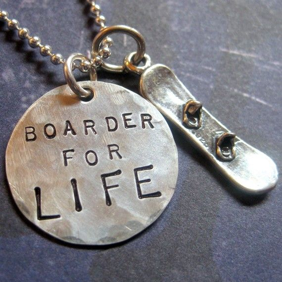 Snowboard Jewelry Snowboarding Necklace Hand by LifeIsRosey