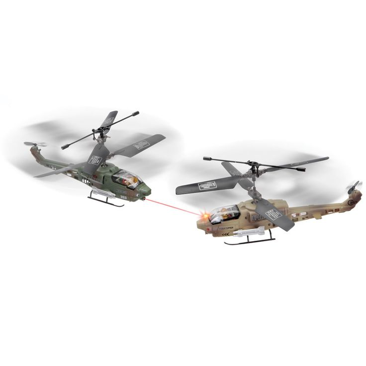 The Remote Controlled Dueling Helicopters - Hammacher Schlemmer - These are the remote controlled helicopters that battle each other for indoor air supremacy.