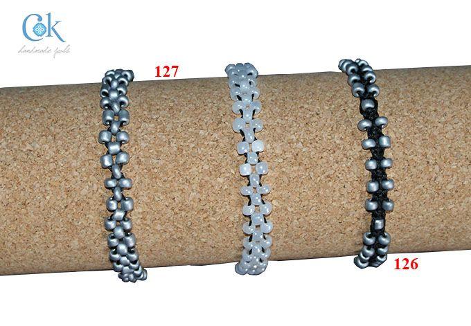 Black & silver beads macrame (126) & Black & silver-white beads bracelet (127)
