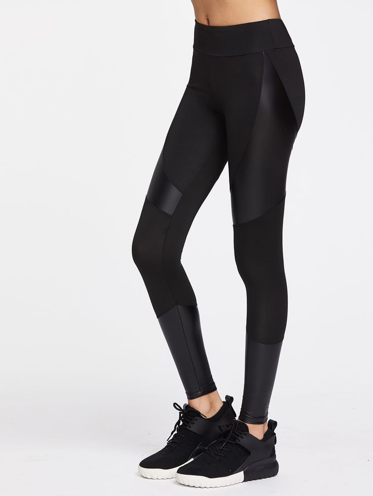 Shop Contrast Pu Cut And Sew Sports Leggings online. SheIn offers Contrast Pu Cut And Sew Sports Leggings & more to fit your fashionable needs.