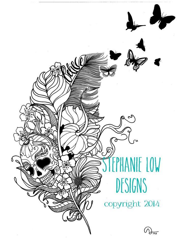 Sugar Skull feather tattoo design Custom Design https://www.etsy.com/shop/SlowDesigns