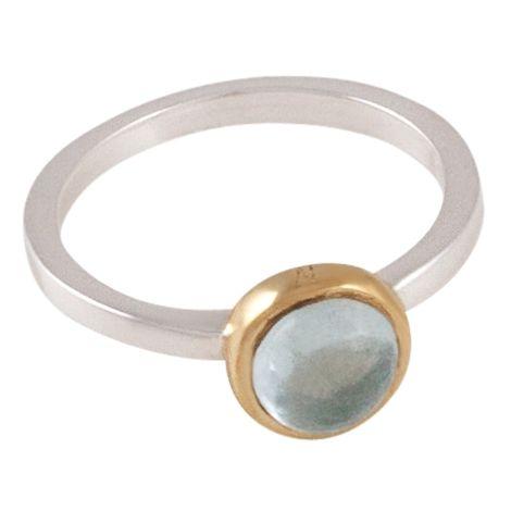 Lavendel ring aquamarine, zetkast van gepolijst messing