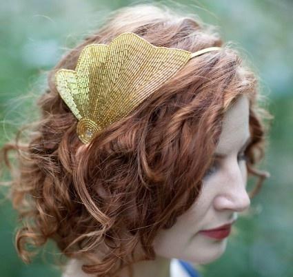 Beaded shell headband