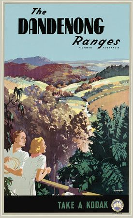 Vintage James Northfield Dandenong Ranges Victoria Australiaa Travel Posters Prints $25 for a small or $95 for a large