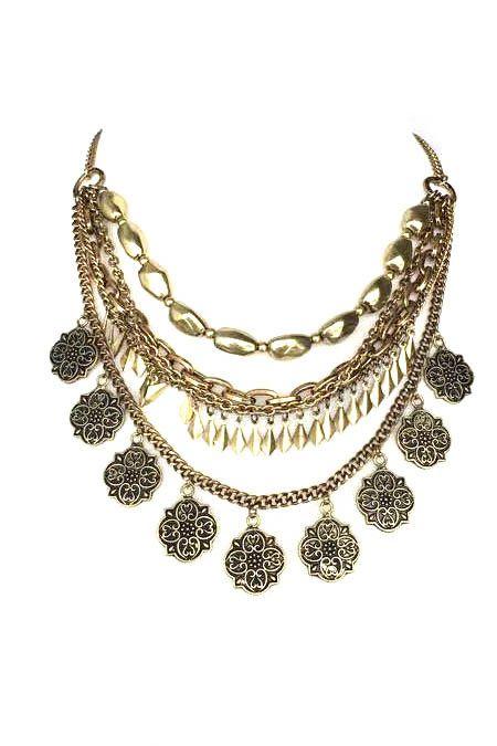Antique Gold Multi Chain Statement Necklace