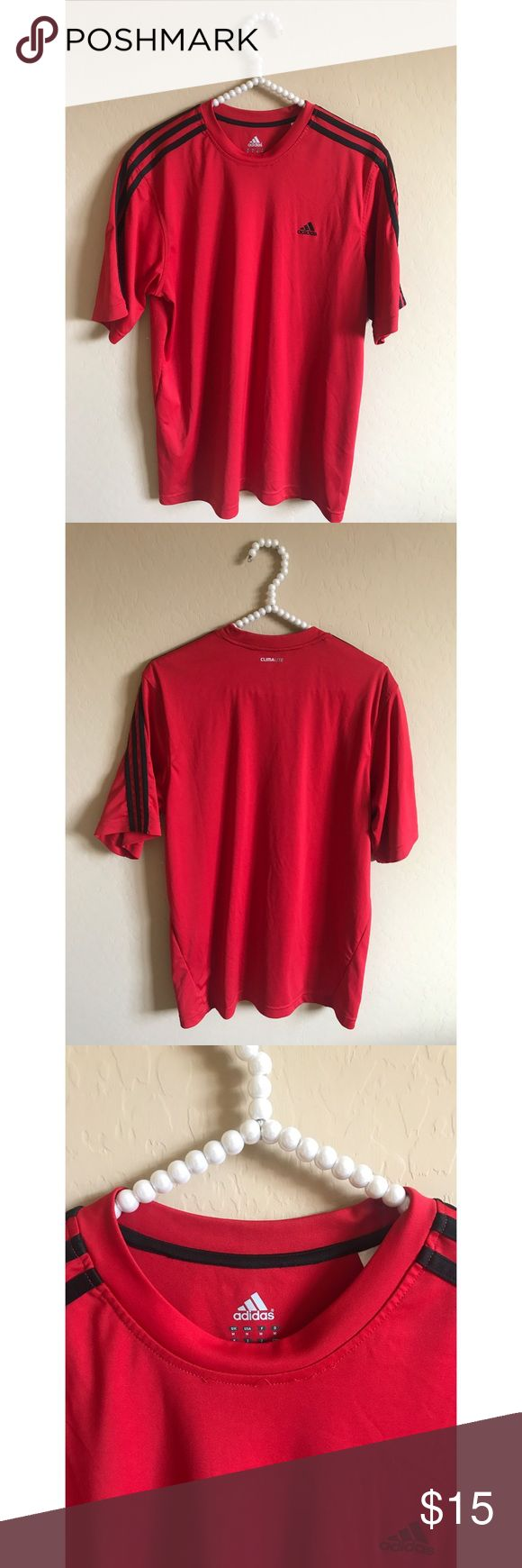 Red Adidas Workout Shirt Excellent condition, the threading came slightly undone on the neckline (view third photo) but doesn't affect it Adidas Shirts Tees - Short Sleeve