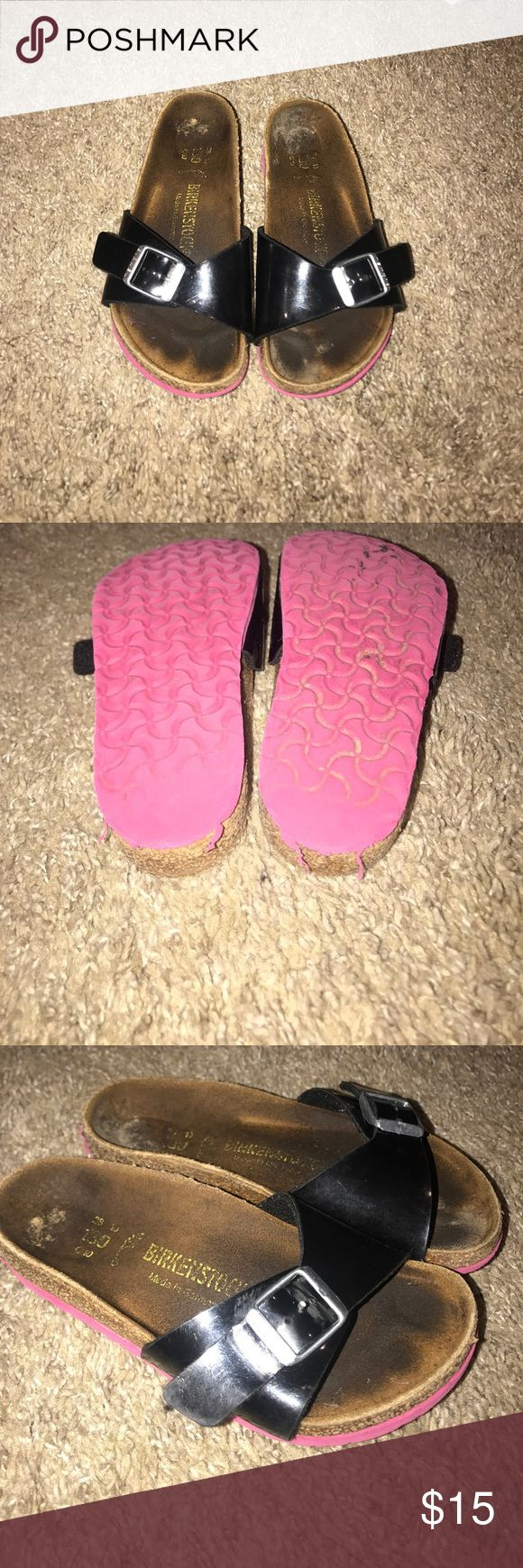 Little girls Birkenstock slippers Used and loved by my daughter. Used but still have a lot of wears out of them. Birkenstock Shoes Sandals & Flip Flops