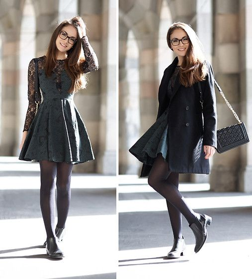 Get this look: http://lb.nu/look/5405316  More looks by Olympia C: http://lb.nu/olympia  Items in this look:  Love Green And Lace Dress, Paul Green Chelsea Boots, Forever 21 Bag, Zara Coat