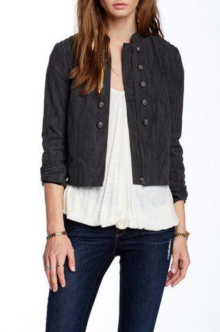 Faux Suede Femme Band Jacket