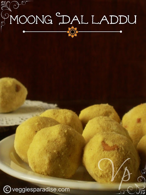 MOONG DAL LADOO - A delicious and healthy ladoo's with moong dal. This is a traditional sweet of South India , which is prepared during festivals. This is prepared with moong dal, sugar, ghee, cashews , cardamom powder and the combination  is out of this world !