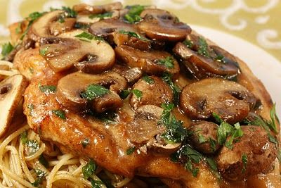 Chicken Marsala - thighs, 1/2 onion slivered, no flour, double the sauce, slight arrowroot slurry at the end. SO GOOD.