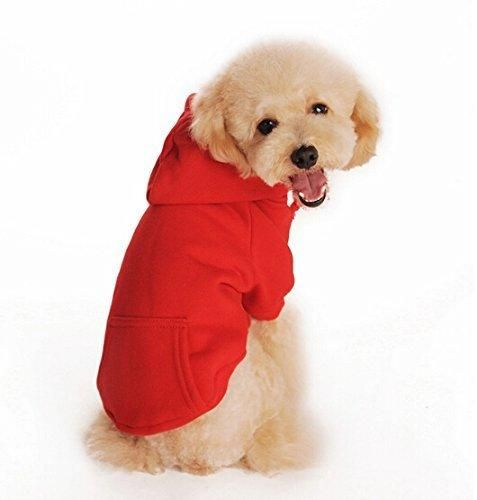 "Enjoying Puppy Dog Sweaters with Pocket Pets Warm Hooded Coat Red XXL- Chest:17"" Neck:15"" Recommend:15-20 lbs"
