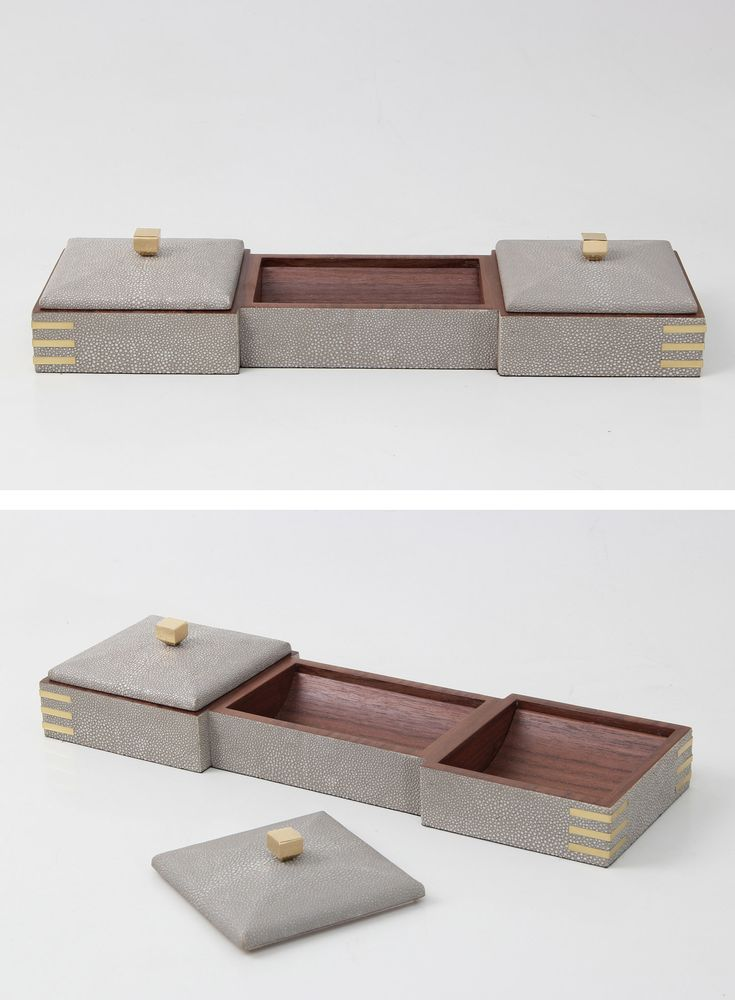 A delightful and useful addition to a desk. Our shagreen desk tidy doubles up as a valet tray