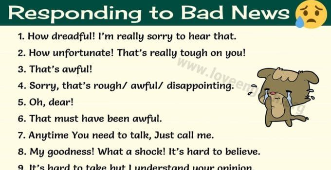 15 Ways To Respond To Bad News In English Love English Bad Words In English Bad News I Love You Words