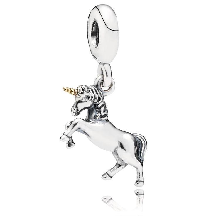 Unicorn Silver and Gold Hanging Charm - PANDORA | pandora.estore