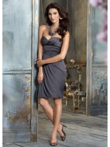 Grey Draped Backless Sweetheart Knee-length Bridesmaid Dress