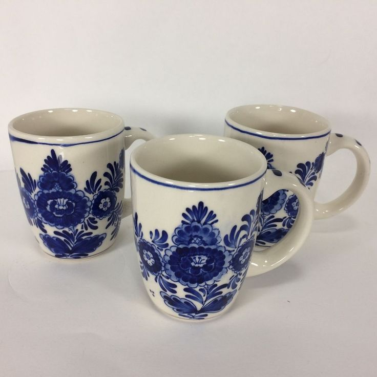 3 Delft Blue Handpainted Mugs Cups Windmills Flower Numbered Signed VTG Set of 3