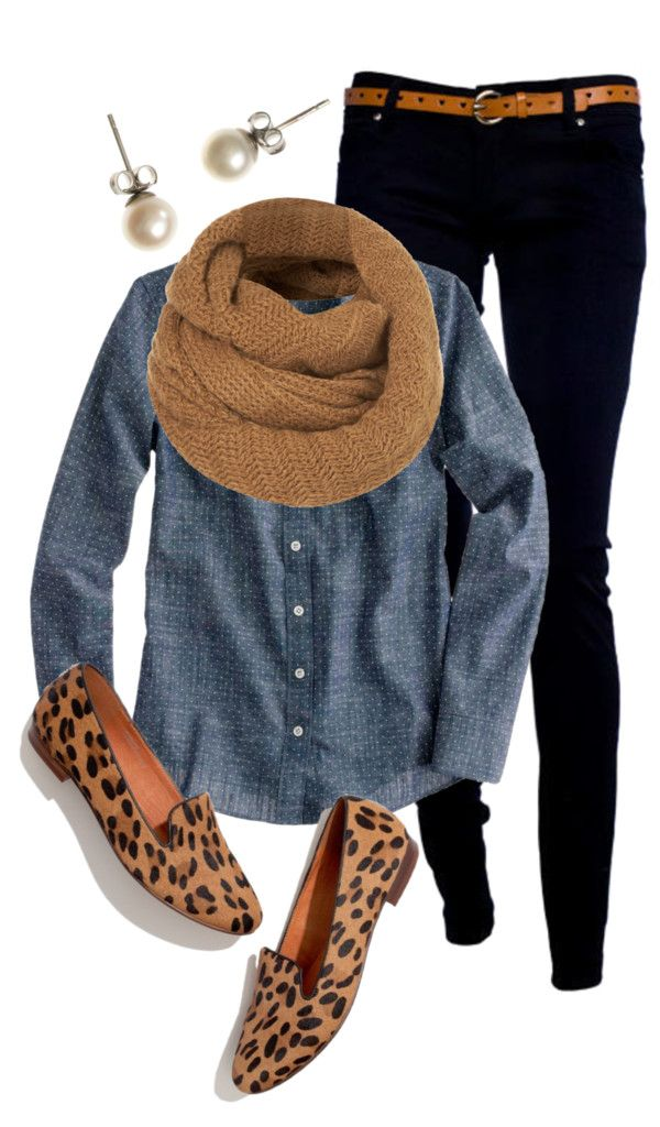 Chambray Shirt + Tan Scarf + Black Skinny Jeans + Leopard Smoking Slippers + Pearl Studs.