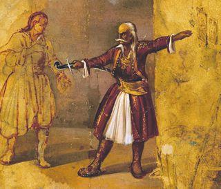 Ο Κολοκοτρώνης ορκίζει τον γιο του Γενναίο στον αγώνα ,έργο του Διονύσιου Τσόκου(Εθνική Πινακοθήκη -Μουσείο Αλεξάνδρου Σούτζου).