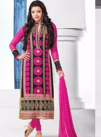 MF 46015 - Pink Color Georgette Long Designer Suit