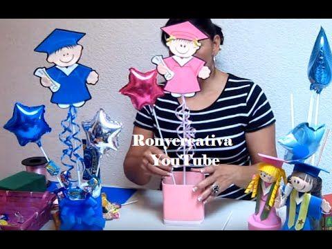 Cómo hacer arreglos para graduación - centros de mesa / Ronycreativa - YouTube