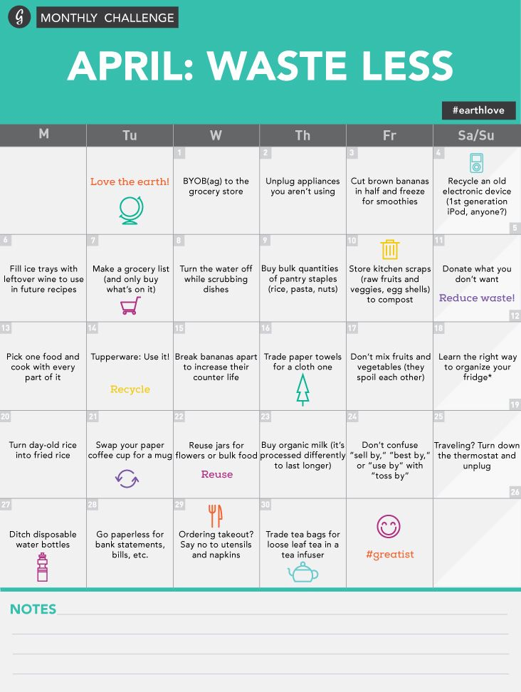 30-Day Waste-Less Challenge Calendar #earthlove #gogreen