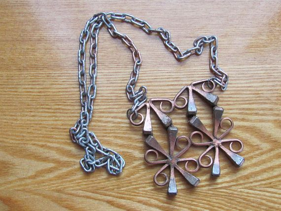 Swedish Vintage Necklace; Pendant Necklace made of Horseshoe Nails with Chain, Brutalist Jewelry Necklace; Vintage Jewelry; Unisex Necklace