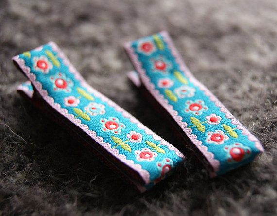 Non-Slip Hair Clip Pair  Blossoms on Blue  by BacinoBoutique