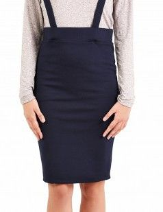 Navy blue pencil skirt with cross back straps - Navy Blue