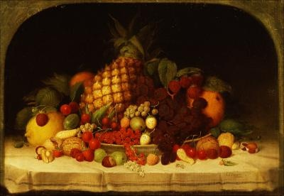 Fruit Piece, Robert S Duncanson. 1849 painting.